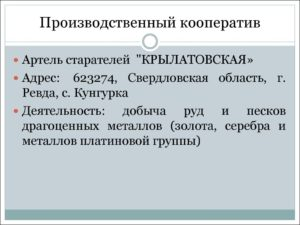 Примеры производственных кооперативов в россии
