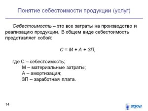 Себестоимость производства и реализации продукции формула