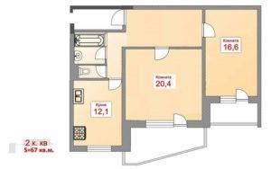 Сколько квадратов в двухкомнатной квартире