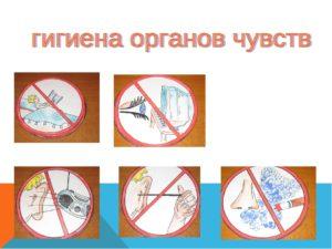 Условные знаки к правилам гигиены органов чувств рисунки