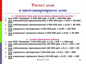 Формула расчета долей в доме